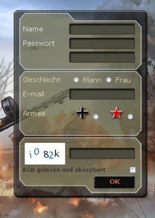 Передовая — регистрация в игре. Скриншот