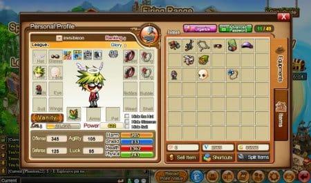 Окно персонажа в игре Бумз