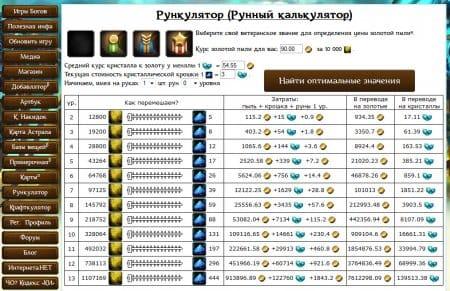 Неофициальный калькулятор рун Аллоды Онлайн. Скриншот